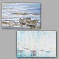 Pintados à mão Abstracto / Paisagem Pinturas a óleo,Modern / Clássico 2 Painéis Tela Hang-painted pintura a óleo For Decoração para casa – EUR € 257.99