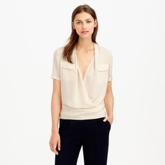 Collection draped silk popover : tops | J.Crew