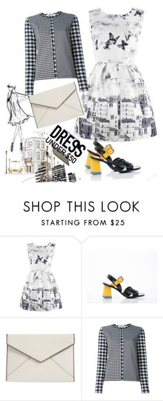 """""""Dress Under $50"""" by ade1-ccvii ❤ liked on Polyvore featuring Jil Sander, Rebecca Minkoff, Comme des Garçons and Bower"""