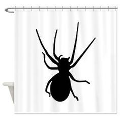 Black Spider Shower Curtain> Shower Curtains> Atteestude T-Shirts And Gifts   #halloween  #halloweendecoration