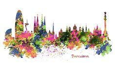 Barcelona Skyline Watercolor painting Barcelona by Artsyndrome Skyline Painting, Skyline Art, Skyline Design, Fine Art Prints, Framed Prints, Canvas Prints, Watercolor Print, Watercolor Paintings, Watercolors