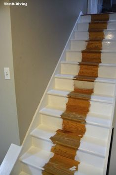 DIY painted stairs makeovers are easy with just paint, IKEA rugs, and a RYOBI nailer. See my painted stairs makeover BEFORE & AFTER! Painting Wooden Stairs, Painted Stairs, Painted Staircases, Spiral Staircases, Staircase Makeover, Stair Redo, Redo Stairs, White Stairs, Beautiful Stairs