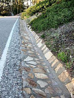 Roadside storm drain ditch parking strip