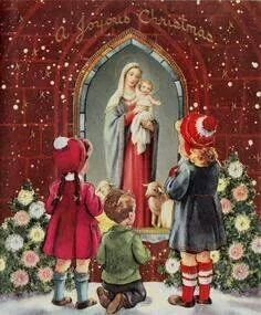 Vintage Christmas Card, Children Visiting Holy Mother & Child Icon