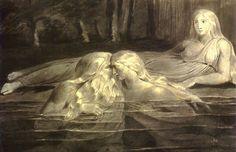 William Blake réalisait des gravures enluminées d'une beauté sauvage, comme celle-ci, intitulée Triel (initialement en couleurs).