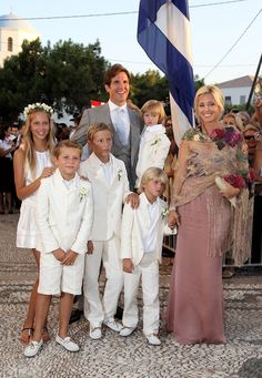 Crown Prince Pavlos of Greece, his wife, Marie-Chantal (Crown Princess Pavlos of Greece), and their five children (L-R): Princess Maria Olympia, Prince Achileas-Andreas, Prince Constantine Alexios, Prince Odysseas Kimon, and Prince Aristide Stavros (being held by his father).