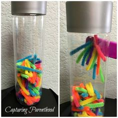 Magnetic Pipe Cleaners Sensory Bottle • Capturing Parenthood Diy Sensory Toys, Sensory Bags, Sensory Bottles, Sensory Play, Voss Water Bottle, Water Bottle Crafts, Calm Down Jar, Calm Down Bottle, Science Activities For Kids