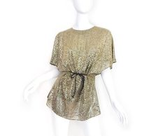 Vintage 80s Metallic Gold Disco Tunic Top - Size Small - Glittering Glam  Sequined Women s Oversized 2498eb5ae