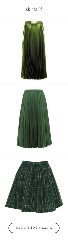 """skirts 2"" by thinvein on Polyvore featuring skirts, gucci skirt, gucci, green pleated skirt, pleated skirt, green skirt, bottoms, topshop, midi skirt and falda"