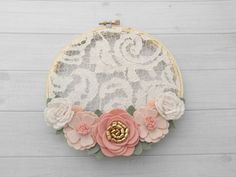 """6"""" Felt Flower Embroidery Hoop Art- Hints Pink, Wheat, Ivory and Gold. Nursery…"""