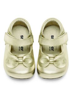 Gold Chao Qun Mary Jane shoes by See Kai Run