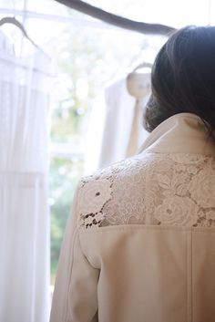 White Leather and Lace Jacket for a Bride | London Showroom Otaduy Bridal by London Bride