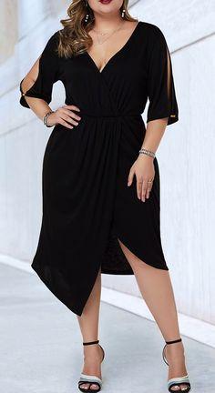 V Neck Split Sleeve Black Plus Size Dress – Bodycon Dress Plus Size Black Dresses, Plus Size Party Dresses, Plus Size Outfits, Dress Outfits, Fashion Dresses, Modelos Plus Size, Looks Plus Size, Trendy Clothes For Women, Plus Size Women