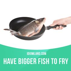 """""""Have bigger fish to fry"""" means """"to have something more important or more interesting to do"""". Example: I can't stay here much longer. I have bigger fish to fry. #idiom #idioms #saying #sayings #phrase #phrases #expression #expressions #english #englishlanguage #learnenglish #studyenglish #language #vocabulary #dictionary #grammar #efl #esl #tesl #tefl #toefl #ielts #toeic #englishlearning"""