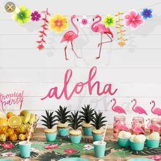 Buy Party Decoration Flamingo Garland Hawaiian Luau Tropical Happy Birthday Banner Party Supplies at Wish - Shopping Made Fun Hawaiian Party Decorations, Summer Party Themes, Diy Party Decorations, Garland Decoration, Party Crafts, Summer Ideas, Party Ideas, Hawaiian Theme, Hawaiian Luau