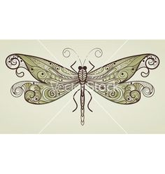 dragonfly with unique pattern vector 514665 - by alexmakarova on VectorStock®
