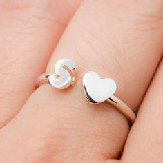 Regular price $52 Do you have your own idea or design? Let us know. We can accommodate any of your idea and design, simply because each and every piece of our product are unique handmade for our customer. This post for one initial and heart adjustable 925 sterling silver rings. Please