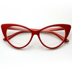 Super Cat Eye Glasses Vintage Inspired Mod Fashion Clear Lens Eyewear (Red) zeroUV