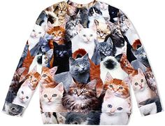 20124c723eff Mlianby Unisex-adult 3D Digital Print Harajuku Loose Pullover Sweatshirts  Cat