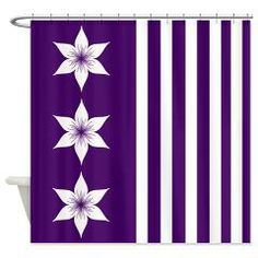 Purple Flowers and Stripes Shower Curtain> Even More Shower Curtains> cheriverymery