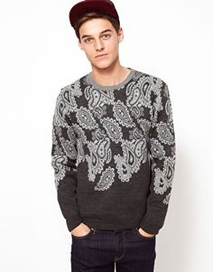 This jumper by ASOS has been constructed in a paisley knit design. It comes in a regular fit. The details include: a crew neck and long sleeves with rib knit cuffs and hem.