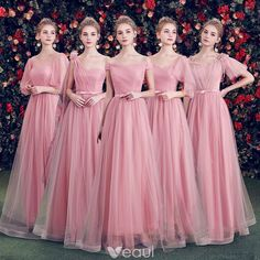 Elegant Candy Pink Bridesmaid Dresses 2019 A-Line / Princess Spotted Tulle Bow Sash Floor-Length / Long Ruffle Backless Wedding Party Dresses Tulle Bridesmaid Dress, Pink Prom Dresses, Quinceanera Dresses, Wedding Party Dresses, Ball Dresses, Peach Gown, Rose Bonbon, Frocks For Girls, Backless Wedding