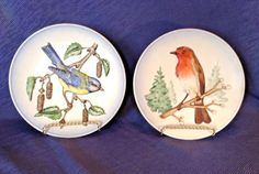 2-Goebel-Wildlife-Series-Collector-Plates-Robin-And-Blue-Titmouse-Germany