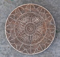 Beautiful giant flower & leaf mandala circle stamp finely carved traditional Indian Henna carved wood block crystal grid