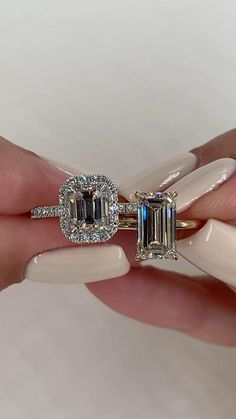 Two STUNNING emerald cut diamond engagement rings. 2 carat elongated emerald cut on the right and a carat halo pave set emerald cut on the left. Emerald Cut Diamond Engagement Ring, Emerald Cut Rings, Dream Engagement Rings, Emerald Cut Diamonds, Engagement Ring Cuts, Vintage Engagement Rings, Diamond Rings, Halo Diamond, Emerald Cut Wedding Band