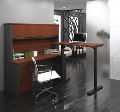 Prestige + Learning Desk with Hutch and Height Adjustable Table