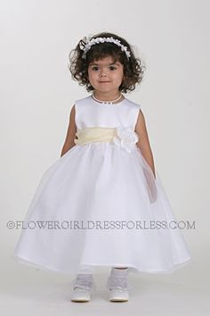 - Flower Girl Dress Style Choice of Ivory or White Dress w/Pale Yellow Sash/Choice of 28 Flowers - Sizes to -Toddlers - Flower Girl Dress For Less Yellow Flower Girl Dresses, Toddler Flower Girl Dresses, Flower Dresses, Flower Girls, Dresses For Less, Fall Dresses, Cute Dresses, Bridal Dresses, Girls Dresses