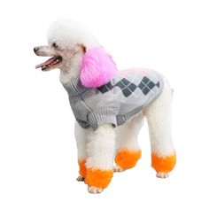 PetTa Grey Pink Argyle Design Pet Apparel Dog sweater for Small Medium Girl Dogs * For more information, visit now (This is an amazon affiliate link. I may earn commission from it)