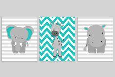 Zoo Nursery Decor, Elephant Nursery Art, Grey and Teal, Baby Nursery Decor, Baby Room Decor, Giraffe, Chevron, Hippo, Jungle Nursery Decor by SweetPeaNurseryArt on Etsy