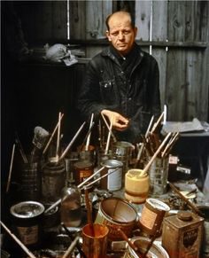 """artistandstudio:  Jackson Pollock, photo by Arnold Newman """"Abstract painting is abstract. It confronts you. There was a reviewer a while back who wrote that my pictures didn't have any beginning or any end. He didn't mean it as a compliment, but it was. """" Jackson Pollock"""