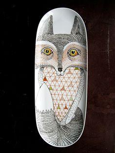 Fox Illustration on long platter by PerDozenDesign on Etsy, €40.00