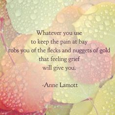 TOP FEELING quotes and sayings by famous authors like Anne Lamott : Whatever you use to keep the pain at bay robs you of the fleck and nuggets of gold that feeling grief will give you. Great Quotes, Me Quotes, Quotes To Live By, Inspirational Quotes, Advice Quotes, Anne Lamott, The Words, Cool Words, Collateral Beauty