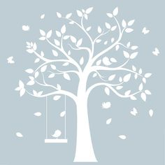 white tree wall decal - white tree with birds & butterflies- nursery wall art