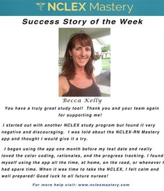 Becca Kelly is our #NCLEX Mastery Success Story of the Week. Congratulations on passing your NCLEX, and becoming a #nurse. We're glad we could help play a part in you achieving your dreams! If you want to know how Becca passed or if you need help on your NCLEX studies visit: www.nclexmastery.com.