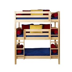Maxtrix HOLY Triple Bunk Bed in Natural with Panel Bed Ends Main Thumbnail Bunk Beds With Stairs, Cool Bunk Beds, Kids Bunk Beds, Triple Bed, Triple Bunk Beds, Childrens Bunk Beds, Ideas Habitaciones, Bunk Bed Plans, Bunk Rooms
