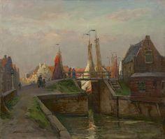 Schulman D.  | David Schulman, Sluis te Spakenburg, olieverf op doek 63,8 x 75,0 cm, gesigneerd l.o.