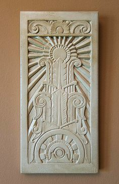 Art Deco Relief Sculpture by vokoban on Etsy - $57   My friend Jeff makes these gorgeous bas relief tile sculptures by hand.