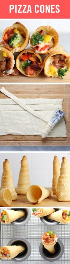 Crescent Roll Hacks: Berries 'n Cream and Pizza Cones-These delicious pizza cone… Crescent Roll Dough, Crescent Roll Recipes, Crescent Rolls, Pizza Cones, Pillsbury Recipes, Brunch, Good Food, Yummy Food, Favourite Pizza