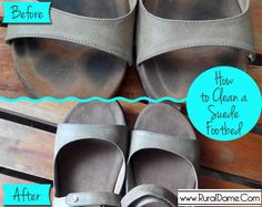 How to Clean A Suede Footbed - Rural Dame Source by verityme how to clean How To Clean Suade, How To Clean Birkenstocks, Cleaning Birkenstocks, Clean Suede Shoes, Suede Sandals, Clean Toes, Suede Cleaner, Inside Shoes, Jelly Shoes