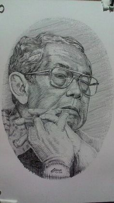 Engrave drawing, ink on paper, gus dur portrait