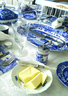 Holiday table at Elinor Cottage, set with Spode Blue Italian
