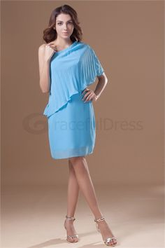 One Shoulder Short/ Mini Sleeveless Chiffon Silk-like Satin Rehearsal Dinner Dress