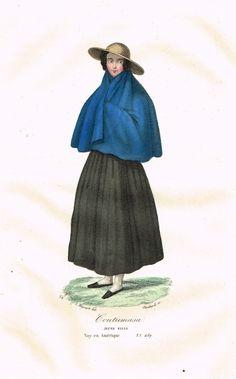 Coutumasa - Jeune fille - Voyage en Amérique - Tome I page 489 - Histoire pittoresque des voyages par L.-E. Hatin - 1844 - MAS Estampes Anciennes - Antique Prints