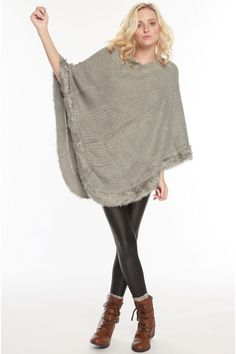 Waffle Knitted Sweater Poncho