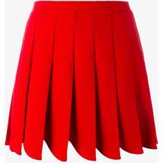 Miu Miu Wool Mini Skirt With Pointed Pleats (3.300 BRL) ❤ liked on Polyvore featuring skirts, mini skirts, woolen skirt, miu miu skirt, short red skirt, wool pleated skirt and pleated miniskirt
