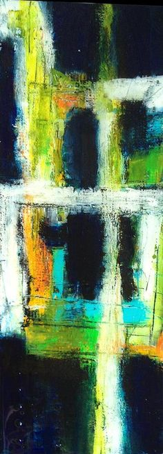 """Deep Truth 3 by Christy Vonderlack, Contemporary Abstract Painting, Mixed Media  on Canvas, 8 x 20"""". fineartamerica.com"""